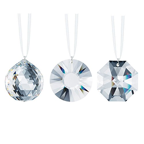Swarovski Strass Clear Crystals 40mm Faceted Crystal Chandelier Prisms Ceiling Lamp Lighting Hanging Drop Pendants Wedding Decoration 3pcs - Signature Crystal Pendant Light