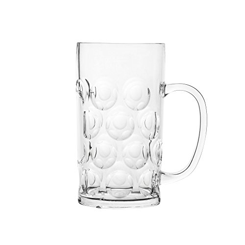 Blazun PS-A31 Unbreakable Polycarbonate Oktoberfest Beer Stein Barware (Set of 6), 37.5 oz, Clear by Blazun