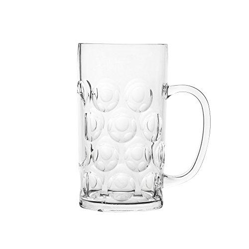 Blazun PS-A31 Unbreakable Polycarbonate Oktoberfest Beer Stein Barware (Set of 6), 37.5 oz, Clear by Blazun