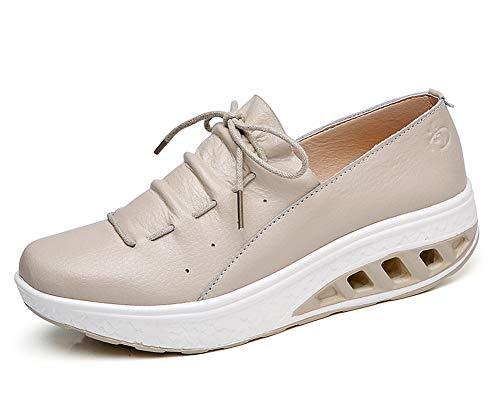 Zapatos Libre lovejin Caminar al Zapatos Deportes Mujer Fitness Plataforma Deporte Transpirable Adelgazar Cuña Sneakers Zapatos Beige Sneakers Aire gqAqBEw
