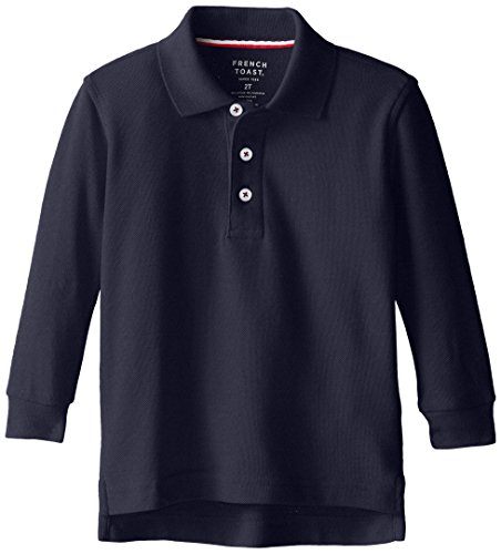 French Toast Little Boys' Long Sleeve Pique Polo, Navy, 4 by French Toast