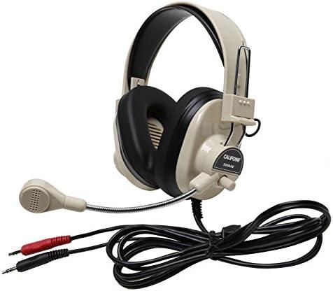 Califone 3066AV Deluxe Multimedia Stereo Wired Over-the-head Headset 3.5mm Plug Black White
