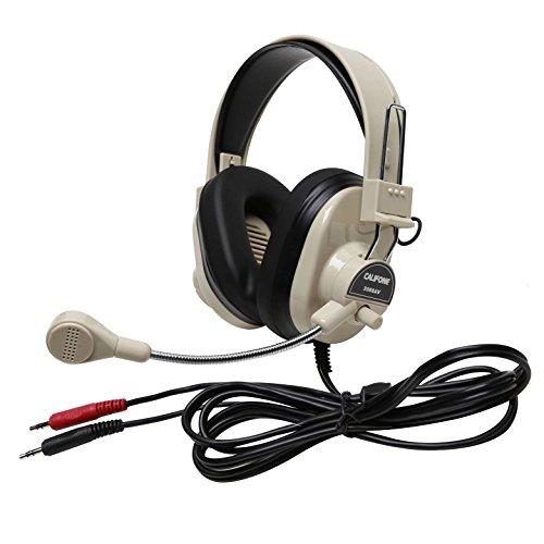 Califone 3066AV Deluxe Multimedia Stereo Wired Over-the-head Headset, 3.5mm Plug, Black, White ()