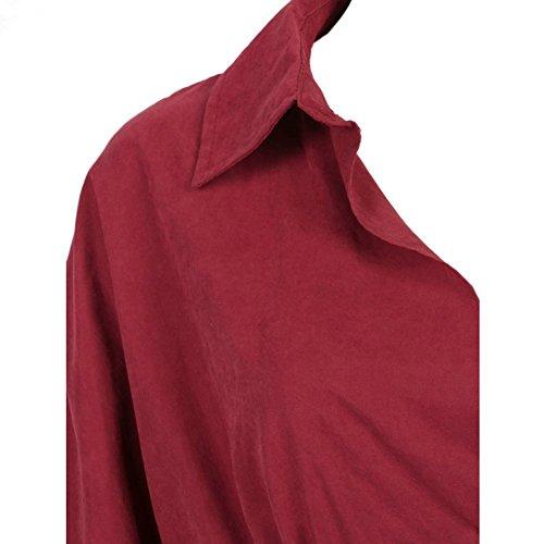 Del Lunga Con 2017 Collare Di Il Fascia Vino Delle Modo Donne In Vita Rosso Turndown Allentata Eleganti Manica Camicia Del Vestito pxFwP8qPf
