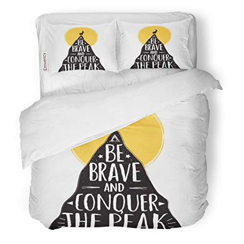 (Semtomn Decor Duvet Cover Set Twin Size Goat Top of Mountain Be Brave and Conquer The 3 Piece Brushed Microfiber Fabric Print Bedding Set)