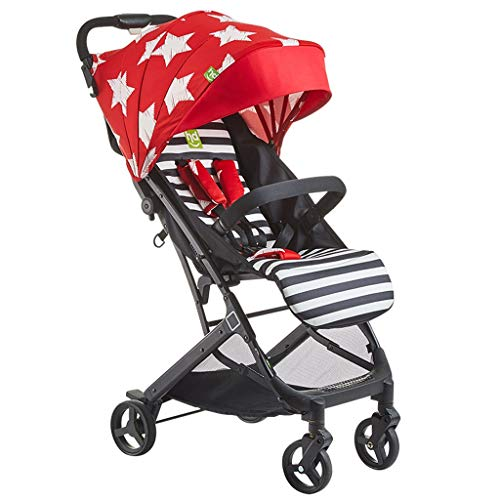 (MOOLO Baby Stroller Baby Stroller Ultra Light Portable Folding Aluminum Alloy Shockproof Can Sit Reclining Children's Hand Push Umbrella (Color : Red))