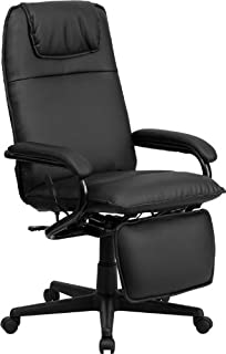 high back black leather executive reclining swivel office chair - Recliner Chair