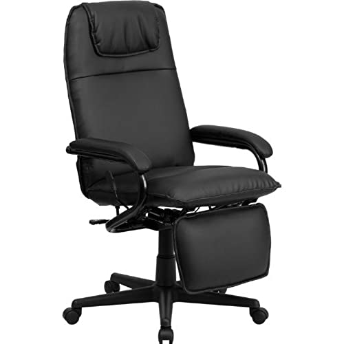 comfortable desk chair. Flash Furniture High Back Black Leather Executive Reclining Swivel Chair With Arms Comfortable Desk