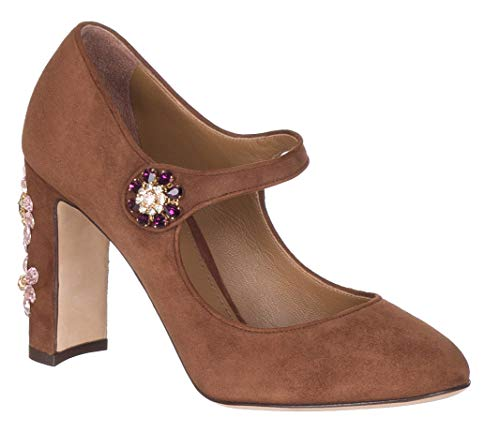 Dolce & Gabbana Women's Brown Suede Jewel Mary Jane Pumps Heels Shoes, US 5 / EU 35, Brown
