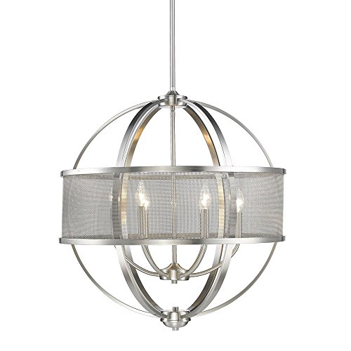 Colson PW 6 Light Chandelier (with shade) in Pewter - Pewter Chandelier