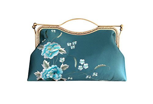 Embroidery 102 100 Purse Bag Blue Hand Green Handbag Clutch Evening TxTrqn5P0w
