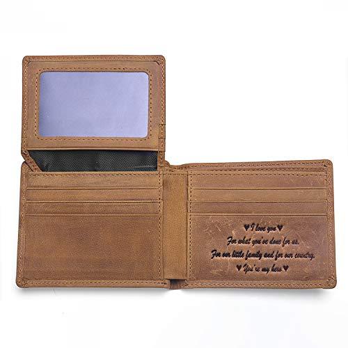 (Genuine Leather Personalized Bifold Wallet for Men, Brown Slim Front Pocket Wallet Gifts for Boyfriend Husband Dad-RFID Blocking (I love you))