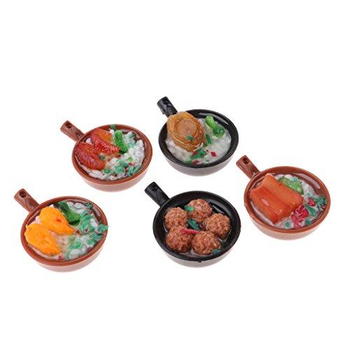 Casserole Miniature (Homyl 5 Pieces 1/12 Miniature Casserole Foods Model Dollhouse Kitchen Accessories Kids Pretend Play Toy)