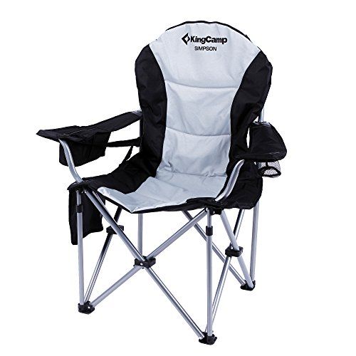 Kingcamp® Deluxe Steel Arm Chair - 350LBS, Heavy-Duty Construction, Super Comfort, Leisure Chair with Head Pillow