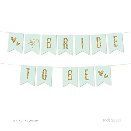 Andaz Press Mint Green Gold Glitter Print Wedding Collection, Hanging Pennant Party Banner with String, Bride to Be, 5-Feet, 1 Set ()