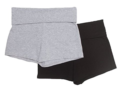 Hot Fold Over Yoga Shorts,Large,2 Pack: Black, Heather Grey