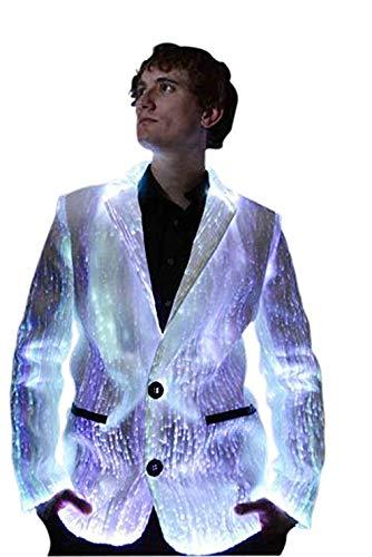 TrYptiX Men's Fiber Optic Light up Suit Jacket White Fabric Multi-Color LEDs (XX-Large) -