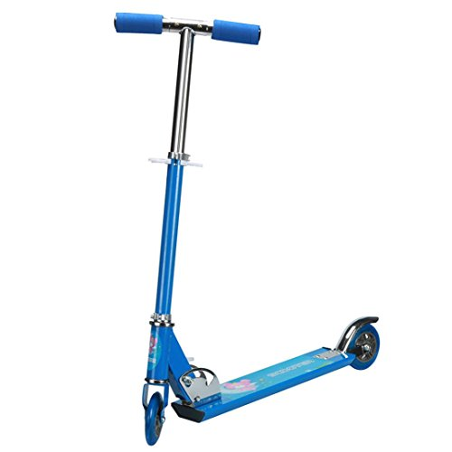 Exercise Scooter,Elevin(TM)Christmas Birthday Gifts Kids Children New Mini Folding Kick Scooter 3 Wheels Outdoor Ride Stainless Steel Push Exercise Scooter (Blue)