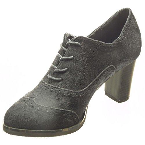 Angkorly - Scarpe da Moda Scarpe brogue Stivaletti - Scarponcini low boots donna perforato Tacco a blocco tacco alto 7.5 CM - Nero