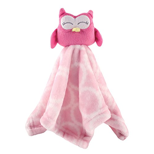 Hudson Baby Animal Friend Plushy Security Blanket, Pink Owl ()