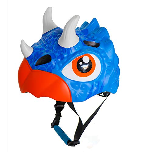 Nice C Kids Bike Helmet, Cycling, Skating, Scooter, Toddler Helmet, Multi-Sports Helmet, Adjustable,Girl Helmet, Boy Helmet, 3D (Blue Dinosaur) (Dinosaur With Horn On Back Of Head)