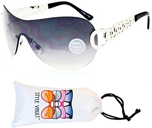 V22-vp Style Vault Shield Metal Aviator Sunglasses (R2716P Silver-Smoked, - Shield Style Sunglasses