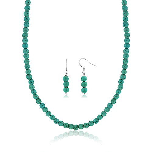 Gem Stone King 6mm Round Beads Green Simulated Turquoise Howlite 20inches Necklace and Earrings Set