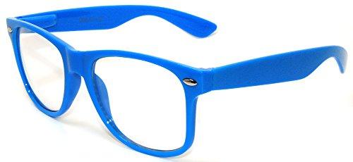 Classic Vintage Sunglasses 80's Style Frame Blue Color - Blue Framed Glasses