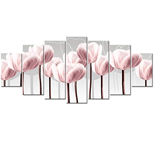 Visual Art Decor Elegant Flowers Canvas Prints Abstract Light Pink Tulips Pictures Wall Art Decoration Large 7 Pieces Floral Artwork for Modern Living Room Home Office (03 Pink Tulip L-70 xH-32)