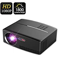 Video Projector, VPRAWLS Portable Full HD Projector 1500 Lumens LED Multimedia Projector …