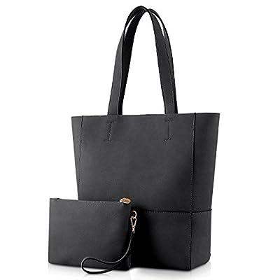 Plambag Faux Leather Tote Bag for Women, Large Shoulder Handbag with Wrist Bag