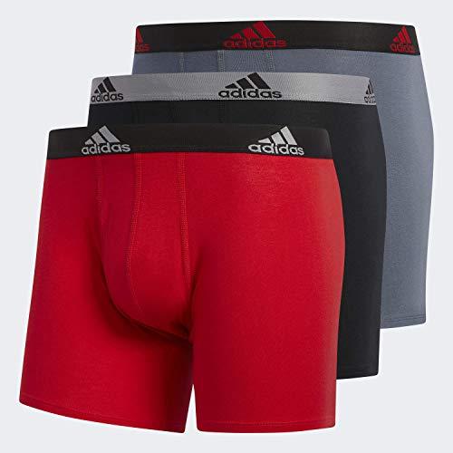 adidas Men's Stretch Cotton Boxer Briefs Underwear (3-Pack), Scarlet/Black Black/Grey Onix/Black, LARGE