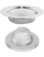 2 PCS Sink Strainer, Kitchen Sink Strainer Plug Stainless Steel Drain Filter Sink Plughole Drainer Metal Mesh Sink Drain Cover Hair Trap Sink Plug Hole Hair Catcher for Showers Bathtub Bathroom (75mm)