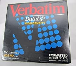 Verbatim 87252 5.25 Inch Datalifeplus Ibm Formatted Floppy Diskette, 10-disc