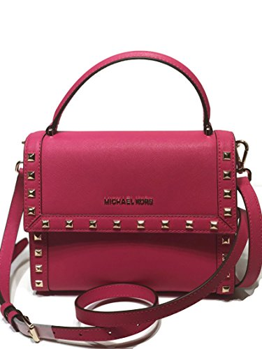 MICHAEL Michael Kors Women's Dillon Studded Medium Messenger Leather Handbag (Ultra Pink)