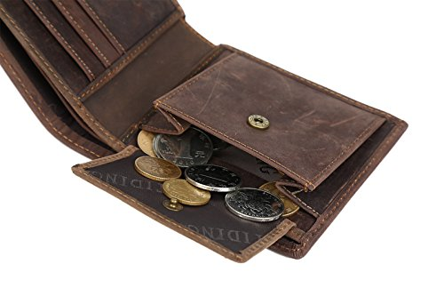 BAIGIO Herren Retro Geldbörse Geldbeutel Kreditkartentasche Hochformat Börse aus echtem Leder Taschen,Braun