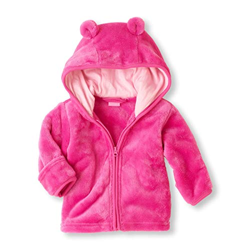Noubeau Infant Baby Boys Girls Fleece Ears Hat Lined Hooded Zipper Up Jacket Coat Tops Outwear Overcoat Warm Fall Winte (Pink, 0-6 Months)