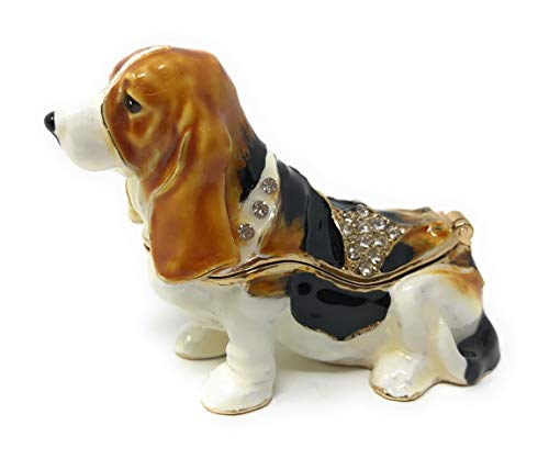 Kubla Crafts Enameled Tri Colored Basset Hound Trinket Box, Accented with Austrian Crystals, 2.75 Inches Long