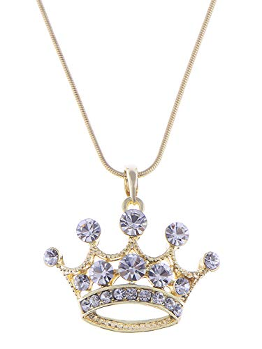 Alilang Clear Crystal Rhinestone Gold Emperor Royal Crown King Queens Pendant Necklace