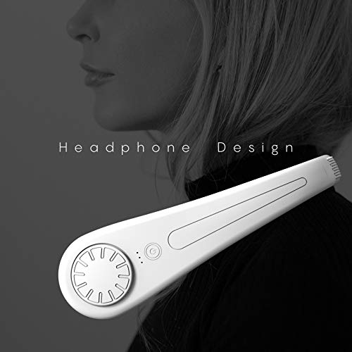 Aobor Neck Fan, Leafless Hanging Neck Fan, Bladeless Cooling Portable Neck Fan, Rechargeable, 3 Speeds, 1800mAh, White, Hands Free