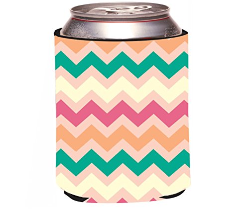 Chunky Peach - Rikki Knight RKws-44718 Chunky Chevron Peach Green Pink Chevron Zig Zag Design Beer Can/Soda Drink Cooler
