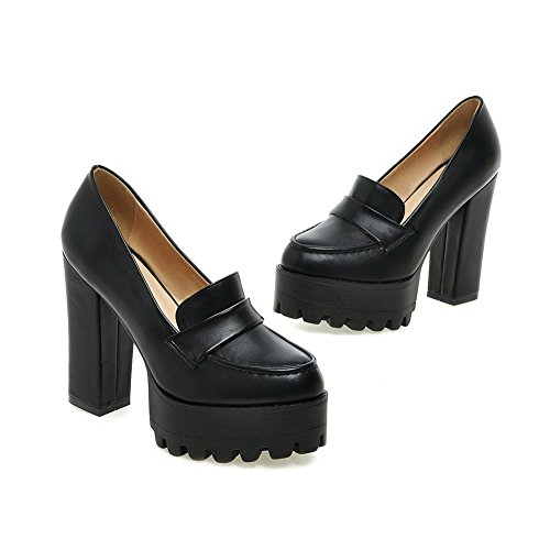Black Microfiber Pumps BalaMasa Platform Shoes Heels Chunky Thread Ladies SgSPq8wf