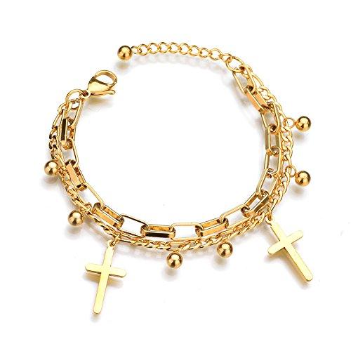 ZZY-J Titanium Stainless Steel Cross Adjustable Bangles Bracelets for Women,Girls (Gold)