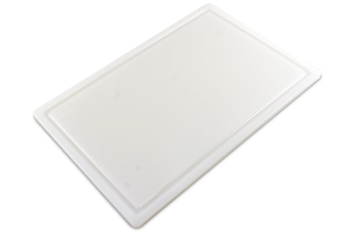 Commercial Plastic Carving Board with Groove, NSF Certified, HDPE Poly (18 x 12 x 0.5 Inch, White)