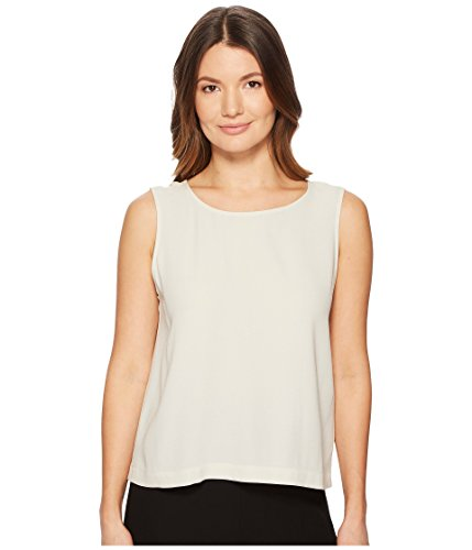 Eileen Fisher Bone System Silk Georgette Crepe Boxy Shell Top M