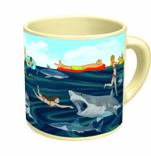 Shark! Heat Changing Mug - Add Coffee or Tea and Sharks Lurking Under the Water Appear - Comes in a Fun Gift Box