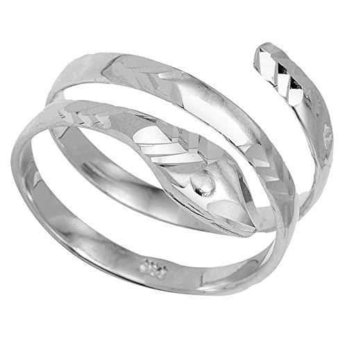 (925 Sterling Silver Serpent Wrap Band Snake Coil Ring (Size 7.5))