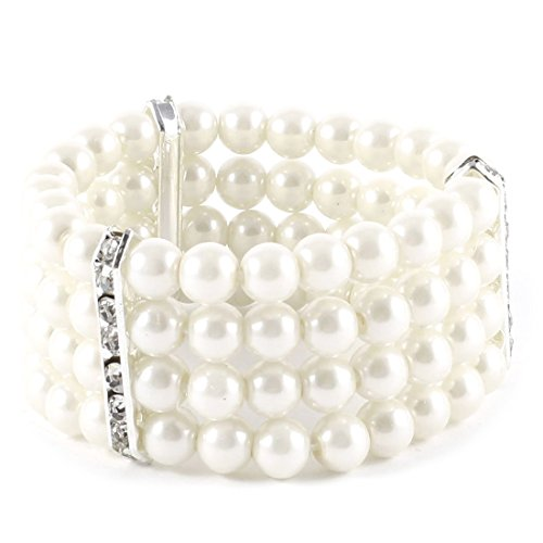 Pearl Bracelet Costumes Jewelry (Ladies Bangle - TOOGOO(R) Ladies 4 Rows White Faux Pearls Decor Elastic Bracelet Bangle Jewelry)