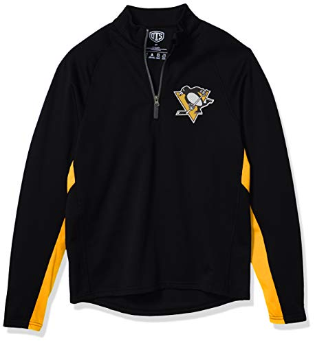 OTS NHL Pittsburgh Penguins Men's Poly Fleece 1/4-Zip Pullover, Logo, Large