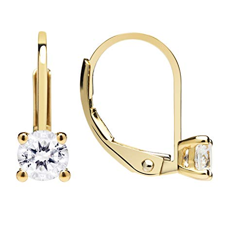 14K Solid Yellow Gold Earrings | Round Cut Cubic Zirconia | Leverback Drop Dangle Basket Setting | .50 CTW | With Gift Box